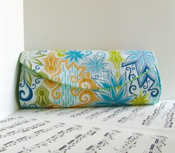 Clearance. Cotton clutch bag, Multi colored clutch purse, blue, green, gold,