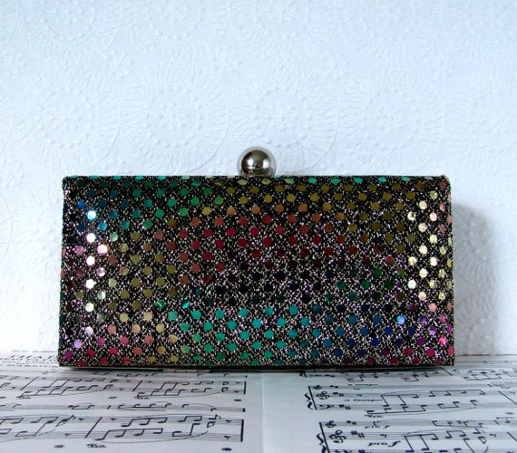 Sequin party clutch, minaudiere, clamshell clutch, cocktail evening bag with chain, new years fashion