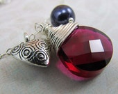 Ruby Crystal Wire Wrapped Briolette Patterned Heart Purple Pearl Silver Necklace