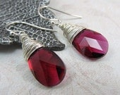 Ruby Red Crystal Pear Silver Wire Wrapped Earrings