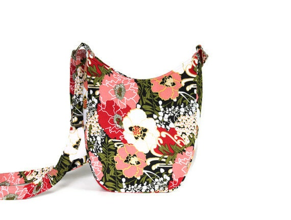 Crossbody Hobo Bag in Flowers
