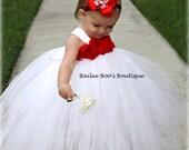 4th Of July Tutu Dress, Red White Tutu Dress, Flower Girl Tutu Dress, Tutu Dress 12 months to 2 Toddler
