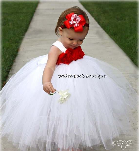 White Red Tutu Dress Birthday Flower Girl Tutu Dress
