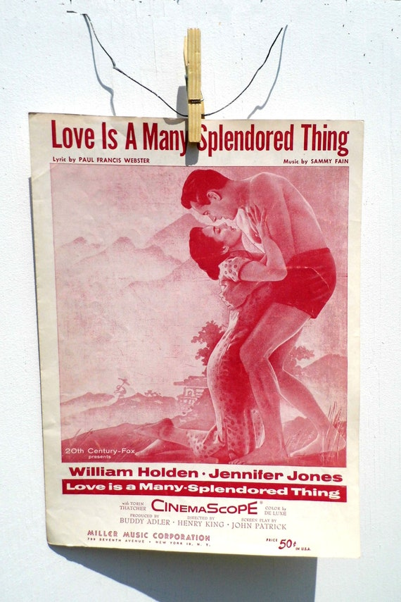 Vintage Music Sheet, Love is A Many Splendored Thing, 1950s