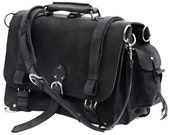 Leather Briefcase Messenger Bag Backpack, LARGE - Charcoal Black Distressed, Rugged