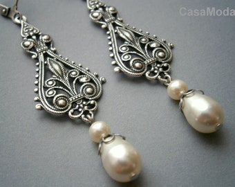 Bridal Chandelier Earrings Vintage Weddings Large Silver Filigree And White Swarovski Crystal Teardrop Pearls