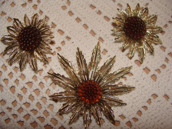 Vintage Costume jewelry Signed Sarah Coventry Flower Brooch and clip Earrings - Demi set