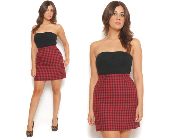 RESERVED 80s Pencil Skirt Black Red Tartan Plaid High Waisted Belt Loops Pockets Mini Skirt / Urban Hipster / Size S Small