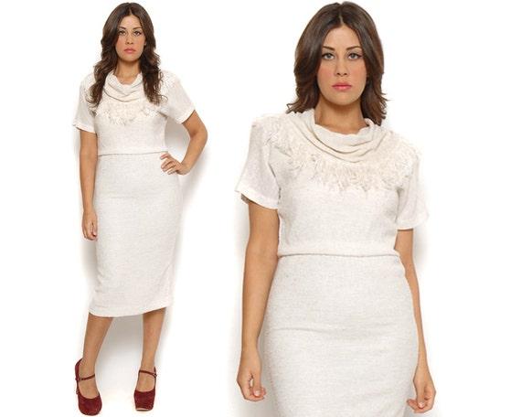 ON HOLD 80s Secretary Dress Cream Cowl Neckline Fringe Scarf Short Sleeve Tea Length Pencil Skirt Flax Knit  / Retro Hipster / Size M Medium
