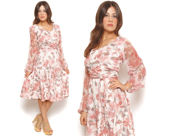 70s Midi Dress Pink Watercolor Floral Sheer Sleeve Circle Skirt Belted Day Dress Garden Party / Boho Retro Bridesmaid / Size L Large