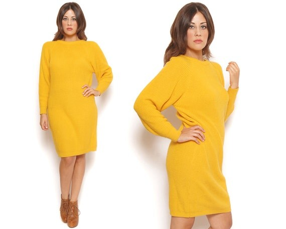80s Sweater Dress Vibrant Yellow Long Sleeve Ribbed Knit Mini Dress Slouchy / Hipster Urban / Size M Medium