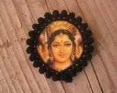 Brooch Pin I love India, Black, Hindu God and Goddes, Namaste, Om