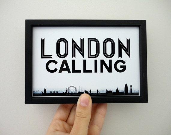 London Calling Art Print, London Art, London Poster, Black and White Typography Print, Travel Print, England, UK, Geography Poster, Skyline