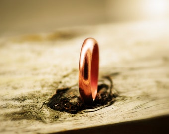 Men Rustic 4mm Copper Ring, Bold Sturdy Copper Ring, For Him, Copper Wedding Band
