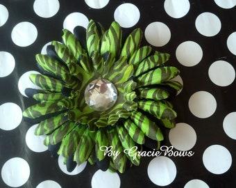Black and Green Zebra Print Gerbera Daisy Hair Clip