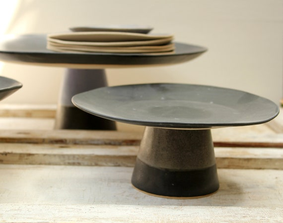 medium size black cake stand for an elegant dessert serving