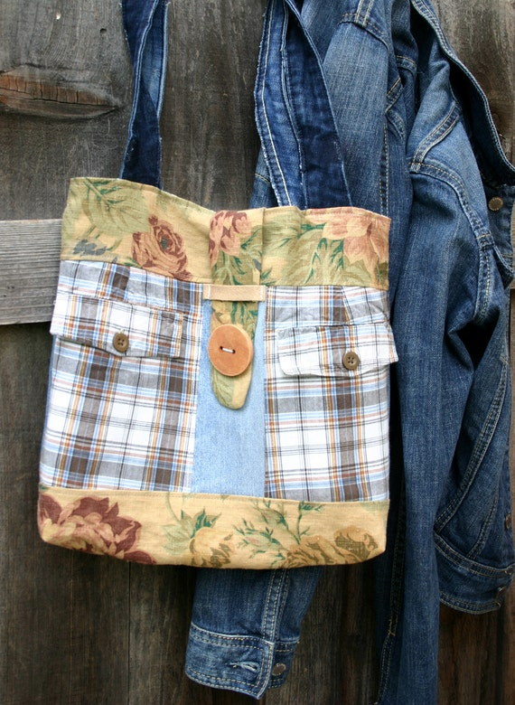 Upcycled floral and denim shabby purse tote bag - Shabby