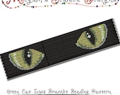 2-Drop Peyote Pattern - Bracelet Beading Pattern - Green Cat Eyes Staring from the Dark - PDF