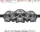 BEADING PATTERN - Halloween Skull Trio Bracelet in Brick Stitch or Peyote Stitch Sculptured Design - Printable PDF Pattern