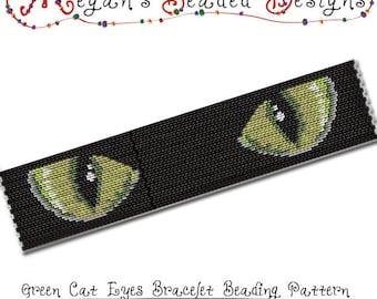 2-Drop Peyote Pattern - Bracelet Beading Pattern - Green Cat Eyes Staring from the Dark - PDF
