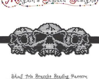 BEADING PATTERN - Halloween Skull Trio Bracelet in Brick Stitch or Peyote Stitch Sculptured Design - Printable PDF Pattern