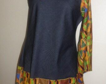 Denim One Shoulder Kente Dress
