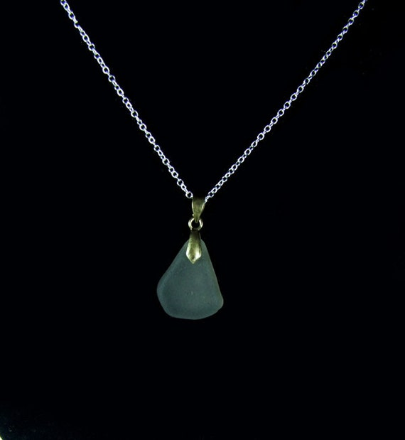 Grey Sea Glass Pendant with silver 925 chain