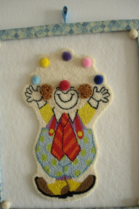 50 Percent OFF Juggling Clown Wall Art Needle Punch Handmade Free Shipping in USA