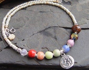 Meditation II -- Om Chakra Stoneware Beads Pewter Lotus Om Charm Handmade Necklace Yoga Moon