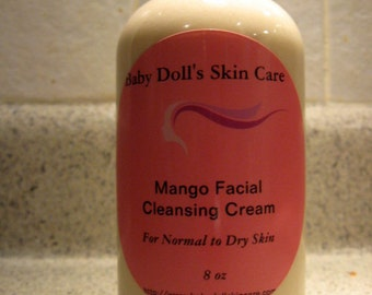 Mango Butter Facial Cleansing Cream All Natural 8 oz Bottle