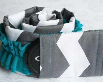 Ruffled Camera Strap Cover Padded with Lens Cap Pocket - Photographer Gift - Dark Gray Chevron with Teal Ruffle