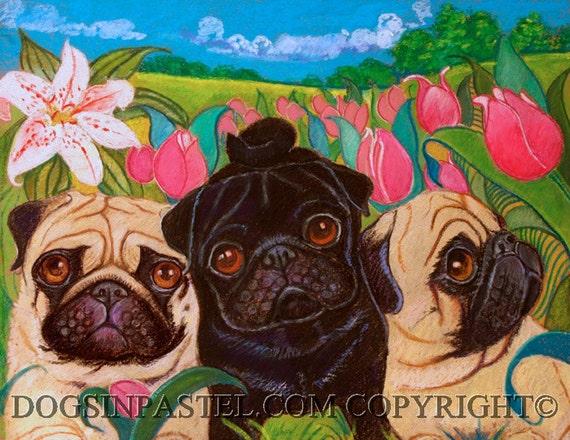 Pug painting art  3 Little Pugs in the tulips ORIGINAL dog art painting animals