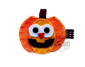 Happy PumpKin Felt hair clip / Halloween hair clip / Girl hair clip / Girl barrette ...