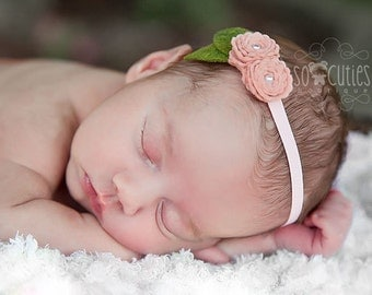 Peach Baby Flower Headband - Felt Flower Headband-  Felt roses - Newborn Headband.