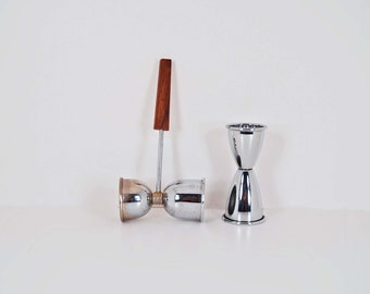 2 Hourglass Shot Glasses  -  Double and Single Shot made of Metal