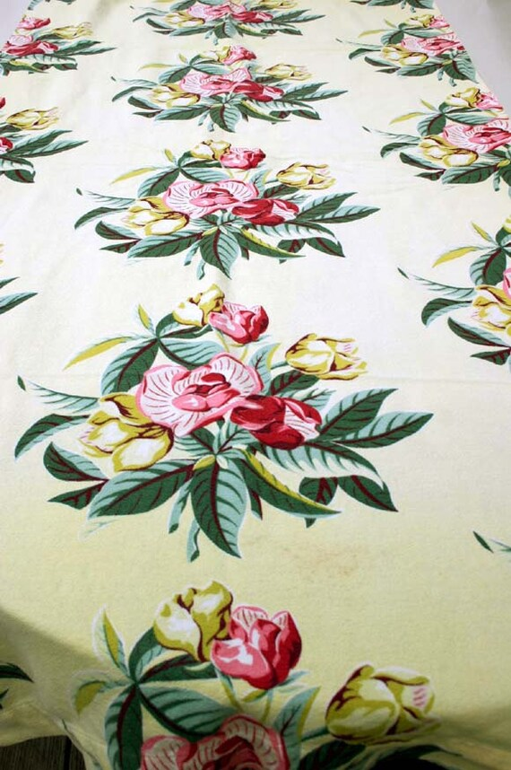 Vintage Bark Cloth Panel Tropical Yellow Green Red