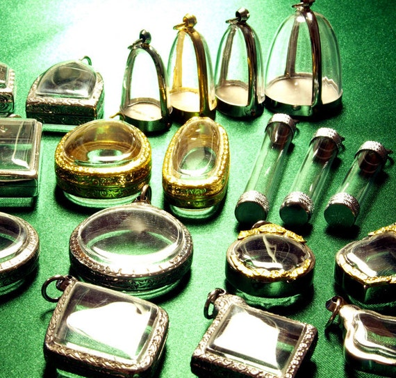 Wholesale Pendant Trays, 25 Assorted Shapes & Sizes, Silver Gold Tone, Clear Empty Shadow Box Containers, Tubes, Domes, Circles, Phials