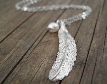 Long Silver Necklace, Silver Feather Necklace, Feather Jewelry, Minimalist  Pendant, Pearl necklace, Delicate Sterling Silver Necklace