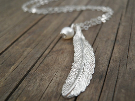 Long silver necklace silver feather necklace feather like this item aloadofball Image collections