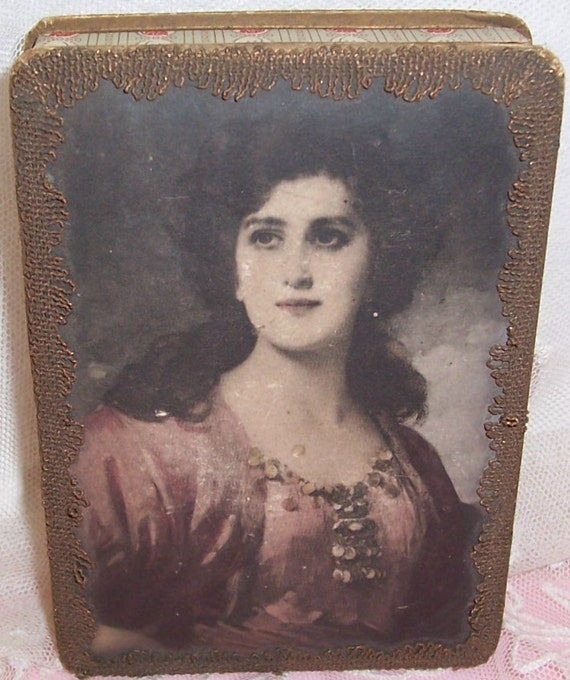 Antique/French Raven Haired Lady Lithograph Candy Box w/ Metallic Trim