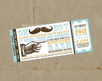 DIY Mustache Bash Party Ticket Style Invitations - Digital U Print