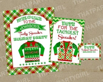 Ugly Sweater Party Voting Awards Ballots Sign Decorations