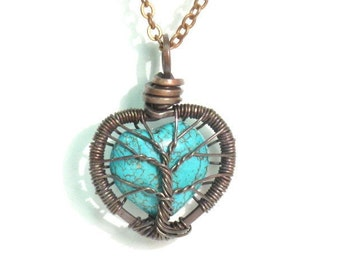 Baby Tree Love. A Heart Shaped Turquoise Stone Tree of Life Necklace in Antique Copper.