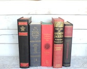 Black & Red Books FAT Instant Library Collection Vintage Books by Color Photography Props Decorative Books Gold