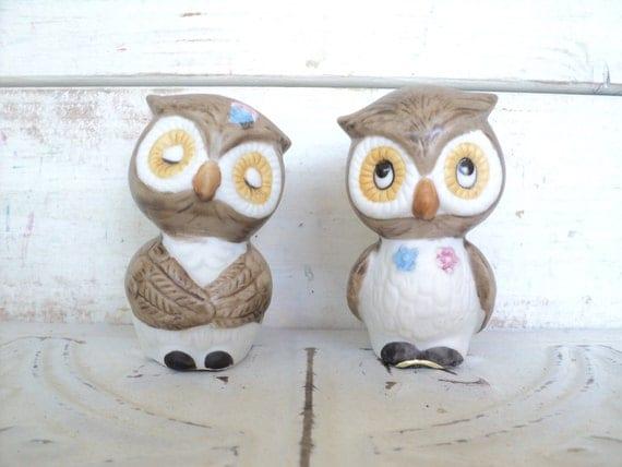 Owl Salt & Pepper Shakers, Vintage Porcelain Set Made in Korea