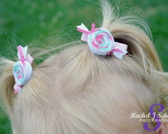 Pink Aqua White Salt Taffy Candy Wrap Sculpture Hair bow.  Set of 2. Free Ship Promo.