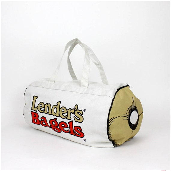 80s novelty duffel bag / Lenders Bagels canvas tote