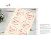 60 ' I Love You'  Print Transparent Stickers