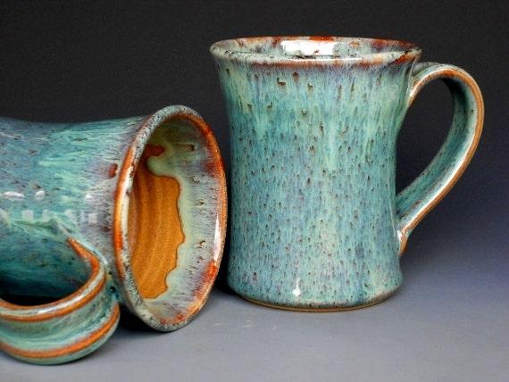 Mug  Ceramic Coffee Cup Tall Ocean Jade