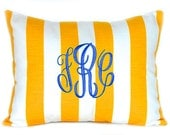 Monogrammed Pillow Yellow Stripe Personalized Home Decor Throw Pillow Cover 12 x 16 Beach Decor Dorm Decor Nautical Decor